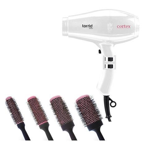 Cortex Professional Torrid Compact Hair Dryer 1400 to 1875 Watts & Premium Quality Ceramic Round Blush Pink Brushes (White)