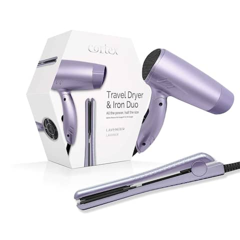 Cortex International Travel Dryer and Iron Duo Premium Quality Travel Bundle (Lavender)