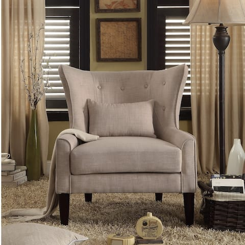 Rosevera LillianaTufted Accent Wingback Chair with Back Cushion