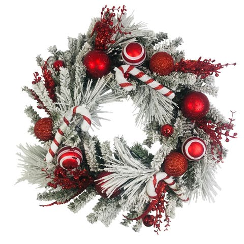 Platon Flocked Artificial Mixed Greens Wreath with Red and White Ornaments 24""