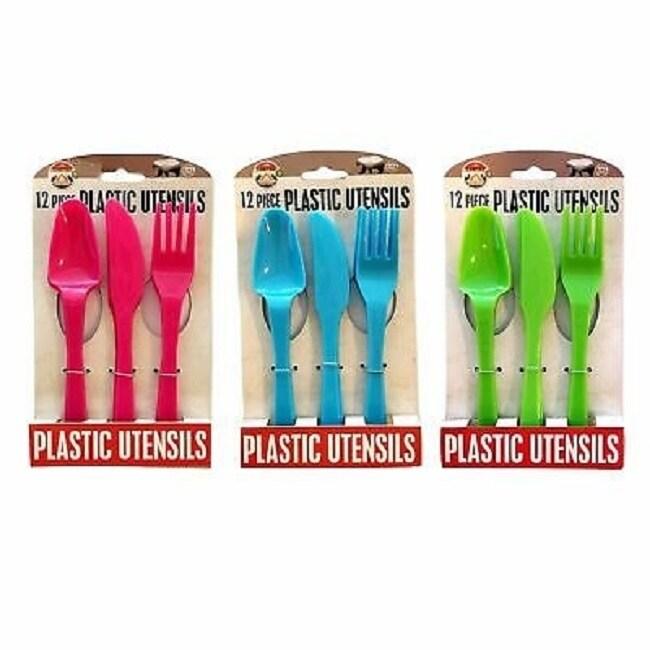 12 Pieces Reusable Plastic Utensils Set For Dinner Forks Knives Spoons Overstock 29330441