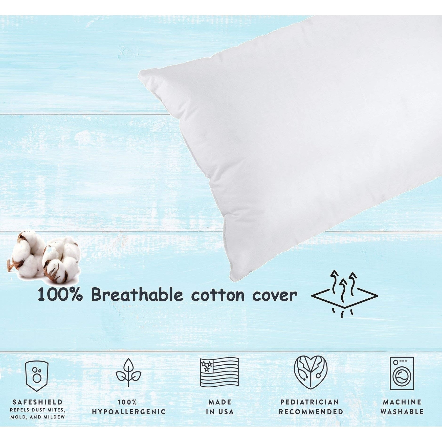 Pediatrician Recommended 12 X 16 Toddler Pillow Machine Washable Non-allergenic Made in USA!