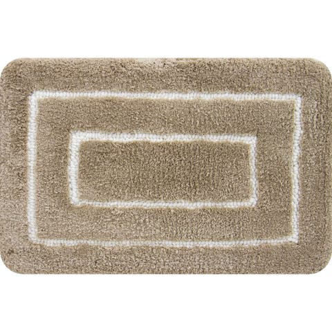 Borders Foam Bath Mat Beige
