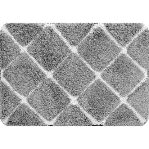 Trellis Foam Bath Mat Gray