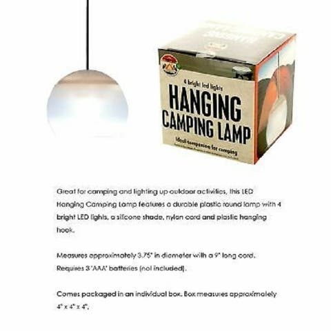 Led Hanging Camping Lamp - Durable Plastic Round Lamp with 4 Bright Led Lights - White