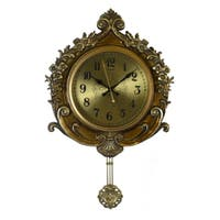 Round Antique Style Gold Wall Clock, Floral Carvings & Ornate Pendulum Baroque or Victorian Style Home or Office Decor