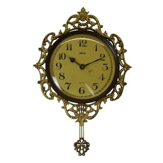 Brown & Gold Wall Clock w/Pendulum Victorian Baroque Style Carvings Luxurious Home & Office Decor