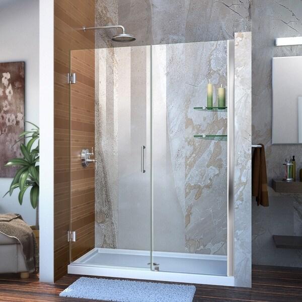 """DreamLine Unidoor 54-55 in. W x 72 in. H Frameless Hinged Shower Door with Shelves - 54"""" - 55"""" W"""