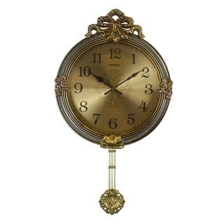 Gold & Silver Round Wall Clock, Fine Carvings & Swinging Ornate Pendulum Victorian Baroque Style