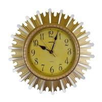 Round Elegant Gold & Mirror Sunburst Style Wall Clock Luxurious Home Or Office Decor