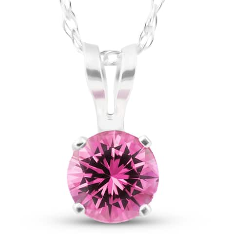 """Solitaire 1/2 ct Pink Sapphire Pendant 14k White Gold Womens 18"""" Necklace"""