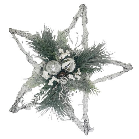 """Platon 22"""" Frosted Star Decor with Pine, Berries, Ornaments White Silver"""