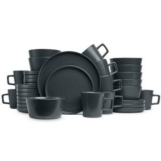 Stone Lain 32-Piece Stoneware Dinnerware Set, Service for 8, Matt Grey