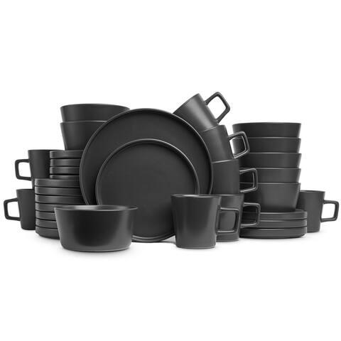 Stone Lain 32-Piece Stoneware Dinnerware Set, Service for 8, Matt Black