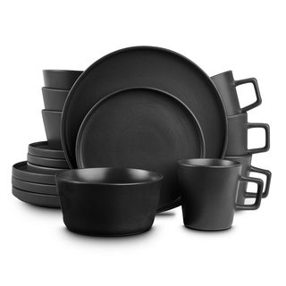 Stone Lain 16-Piece Stoneware Dinnerware Set, Service for 4, Black Matte