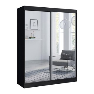 """Aria 2 Door 47""""/59"""" Wide Modern High Gloss Wardrobe Armoire with All Mirror Fronts"""