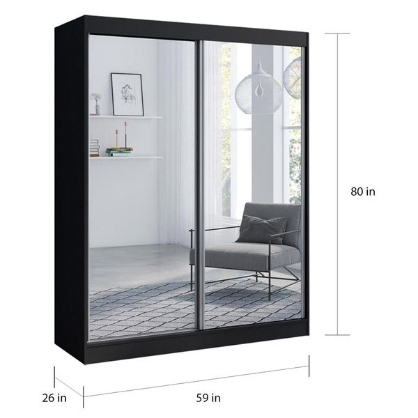 Copper Grove Parasol Modern Glossy Wardrobe Armoire with All Mirror Fronts