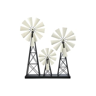UTC16710: Metal Windmill Ornament with Distressed White Wheel Design Painted Finish Black