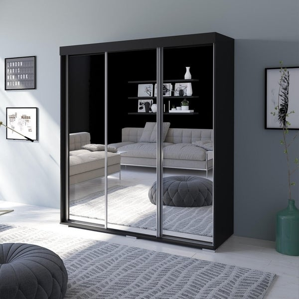 Strick & Bolton Suger 3-door Mirrored Armoire. Opens flyout.