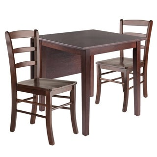 Perrone 3pc Drop Leaf Dining Table Set with Ladder Back Chair