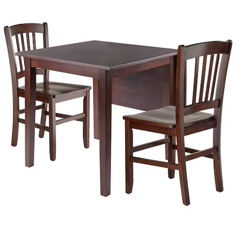 Perrone 3pc Drop Leaf Dining Table Set with Slat Back Chair