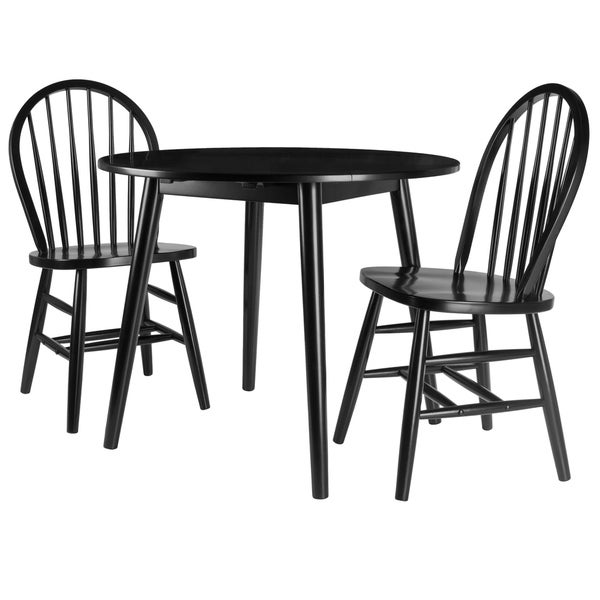 Moreno 3-Pc Set Drop Leaf Table with Chairs, Black Finish