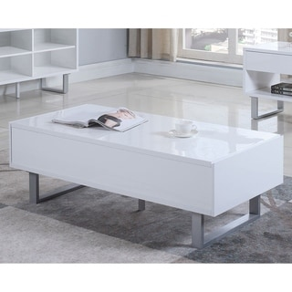 Modern Design Glossy White Coffee Table with Storage Drawers