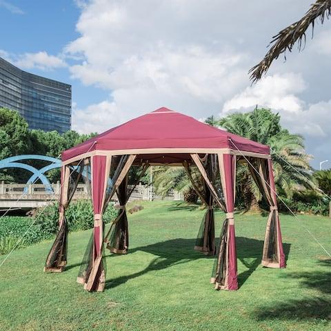Kinbor 11.8' x 10.2' Outdoor Gazebo Shelter Garden Gazebo Canopy Vented Gazebo with Mosquito Netting