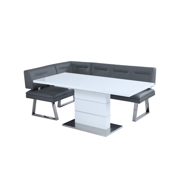 Somette Richard White and Stainless Steel 2-Piece Dining Set. Opens flyout.