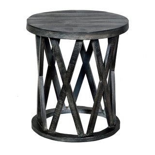 22 Inch Farmhouse Style Round Wooden End Table with Airy Base, Gray