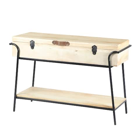 Wood and Metal Console Table with Removable Storage, Brown and Black