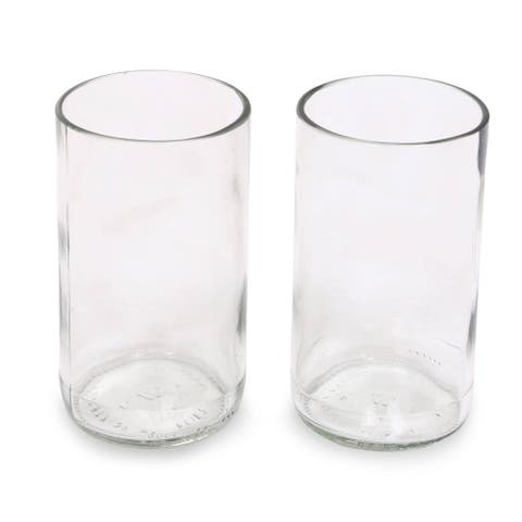 Handmade Clear Sky Recycled Drinking Glasses, Set of 2 (Indonesia)