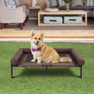 Kinbor Elevated Pet Bed Raised Pet Cot Bolster Pet Cot with Center Support