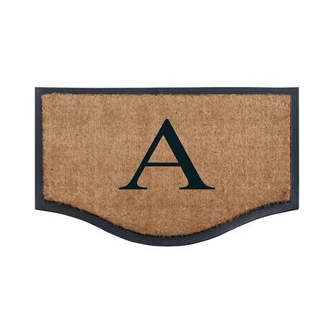"A1HC Rubber Coir Heavy Duty Monogrammed Double Doormat 23.6""X37.4"""