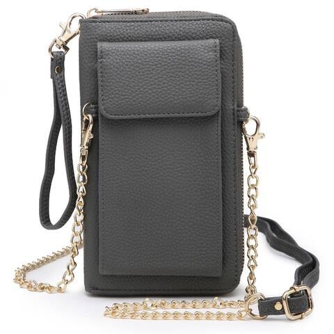 Dasein Faux Leather Organizer Crossbody Bag w/ Detachable Chain Strap