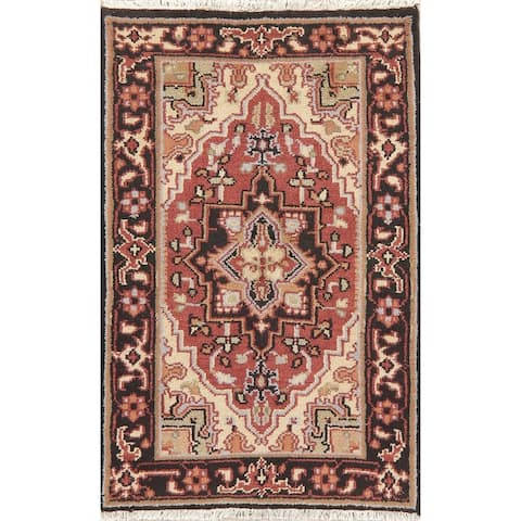"""Heriz Oriental Indian Carpet Hand Knotted Wool Traditional Area Rug - 4'9"""" x 3'1"""""""