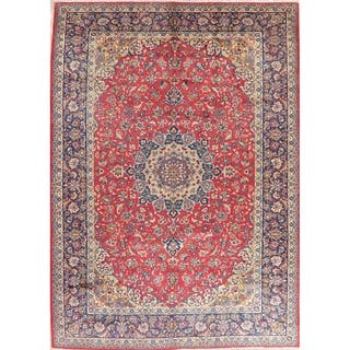 """Najafabad Hand Knotted Medallion Vintage Oriental Persian Area Rug - 13'3"""" x 9'8"""""""
