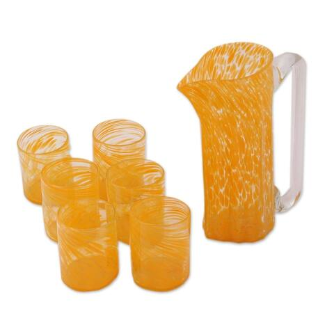 Handmade Marigold Recycled Glass Pitcher and Tumblers, Set for 6 (Mexico)