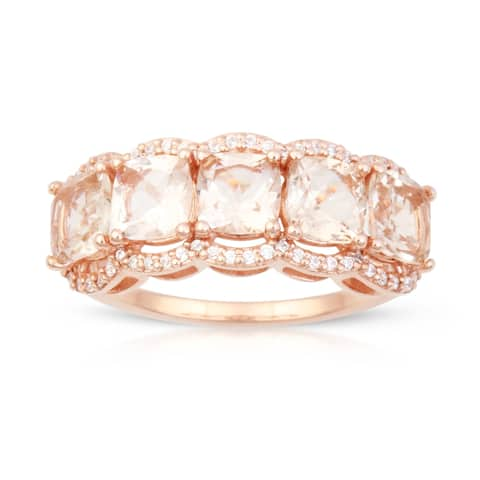 Cushion Shape Morganite Gemstone 1/5ct TDW Diamond Ring in 10k Rose Gold
