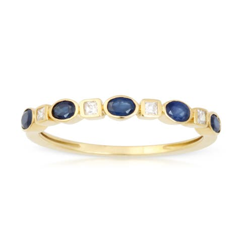 Oval Shape Sapphire Gemstone 1/10ct TDW Diamond Band in 10k Yellow Gold