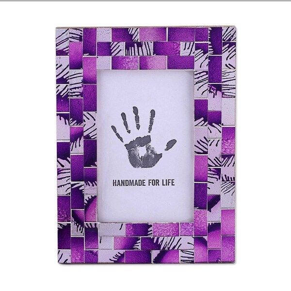 Handmade Purple Impression Glass Mosaic Photo Frame (India)