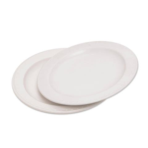 Handmade Country Dot Ceramic Salad Plates, Set of 2 (Indonesia)