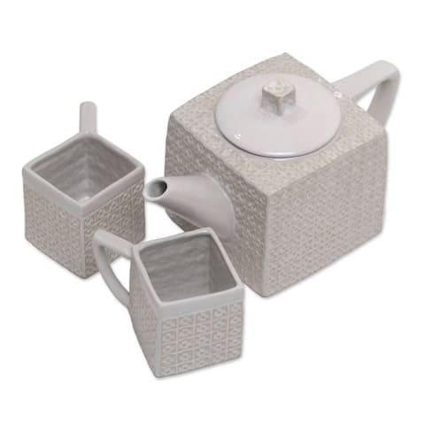 Handmade White Kawung Wedang Ceramic Tea Set, Set For 2 (Indonesia)