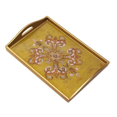 Handmade Regal Petals Reverse Painted Glass Tray (Peru)