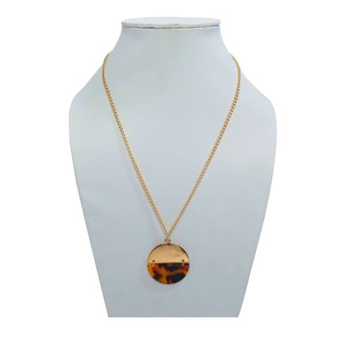 Tortoise Shell Long Chain Necklace for Women - 15.5