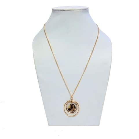 Long Tortoise Shell Chain Necklace for Women - 15.5