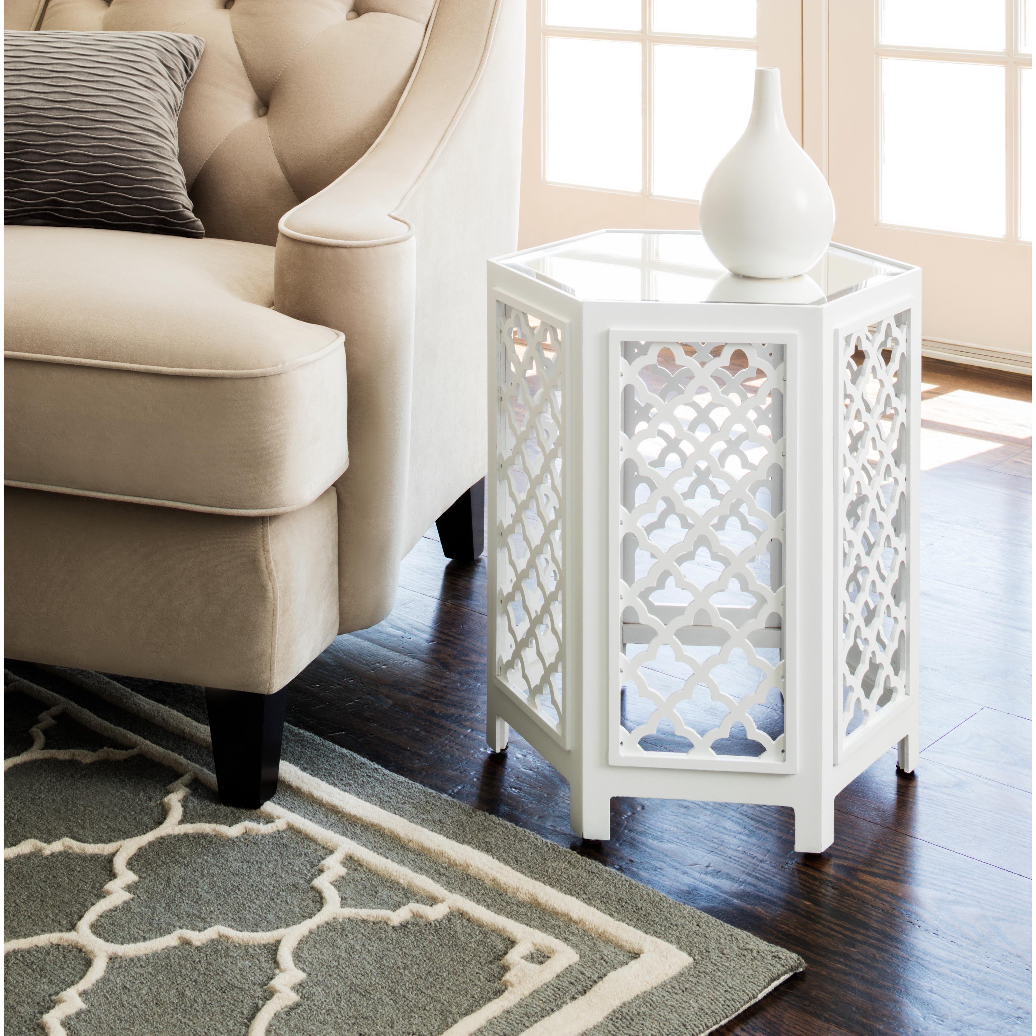 Abbyson Daytona White Mirrored End Table (As Is Item) (White)