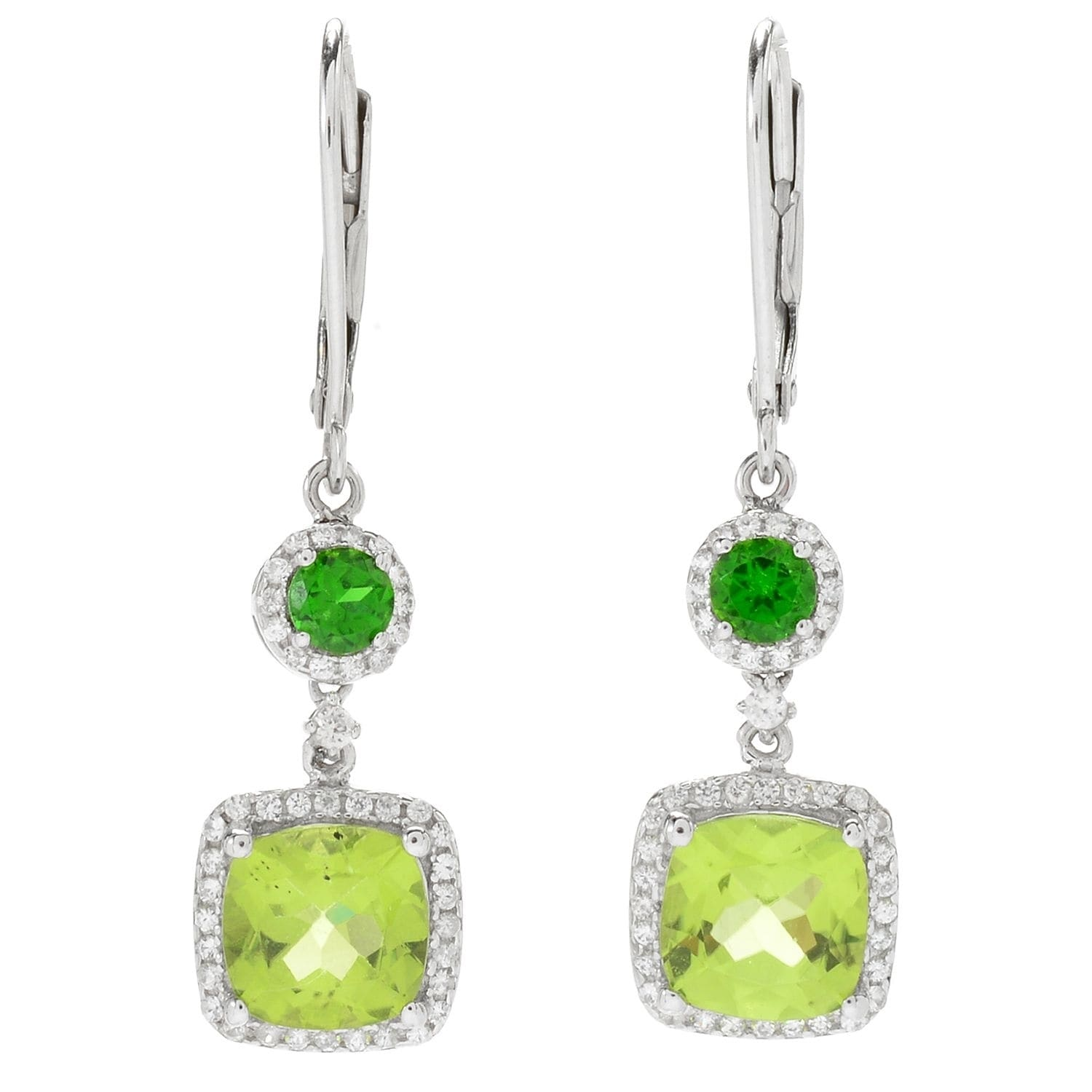 Square 4x4mm Green Peridot CZ Rose Gold Plated Sterling Silver Stud Earrings