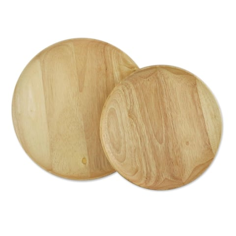 Handmade Natural Rounds Wood Plates, Set of 2 (Thailand)