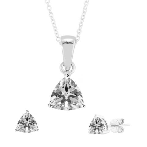 "Set of Sterling Silver Trillion Cut Pendant and Earring with Natural White Topaz-with 18"" Chain"